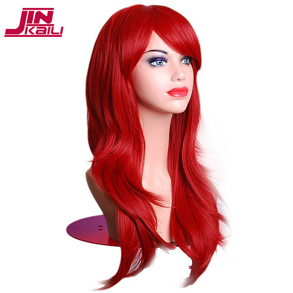 JINKAILI  65CM Long Wave Synthetic Wigs For Black Women Cosplay Wig Blonde Blue Red Pink Grey Purple Hair