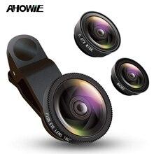 Ahowie 3в1 широкоугольный макросъемный объектив «рыбий глаз» для смартфона, комплекты объективов для камеры на мобильный телефон для Iphone 7 8 Plus X 10 2 с зажимом