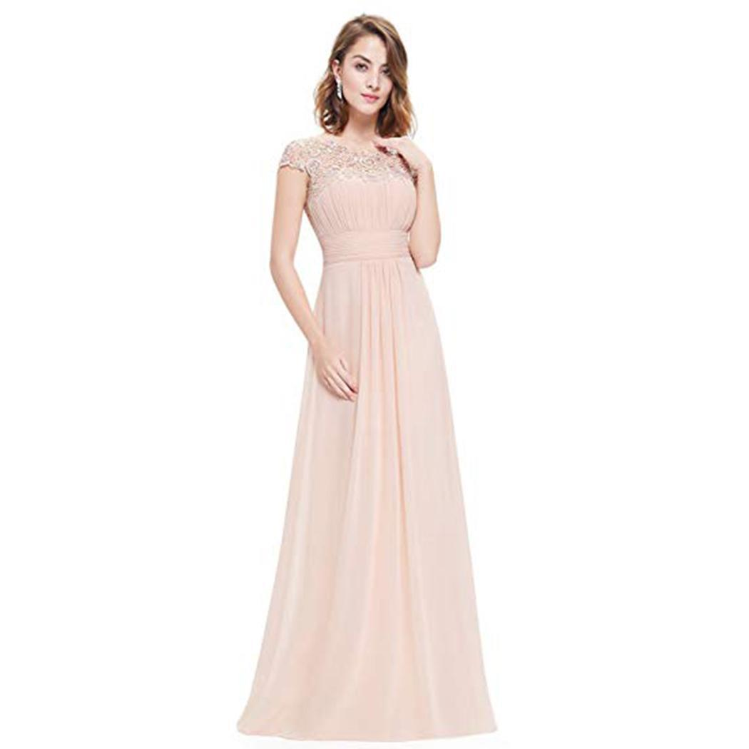 Women Elegant Dress O-neck Short Sleeve Lace Stitching Floor Length Long Solid Casual, Party Dress