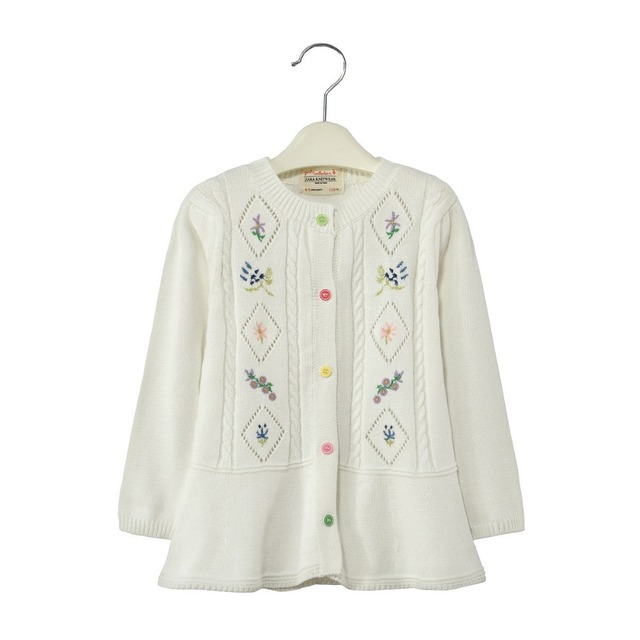 Flores Suéter completa abrir stitch Chaquetas Chicas Cardigans Botón de La Moda Suéteres de Los Niños