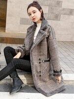 High Quality Brand Elegant Plaid Wool Blend Coat Spring Winter Coat Overcoat Women Patchwork Covered Warm Woolen Coat