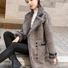 High Quality Brand Elegant Plaid Wool Blend Coat Spring Wint
