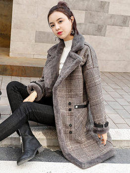 Hohe Qualität Marke Elegante Plaid Wolle Mischung Mantel Frühling Winter Mantel Mantel Frauen Patchwork Abgedeckt Warm Woolen Mantel