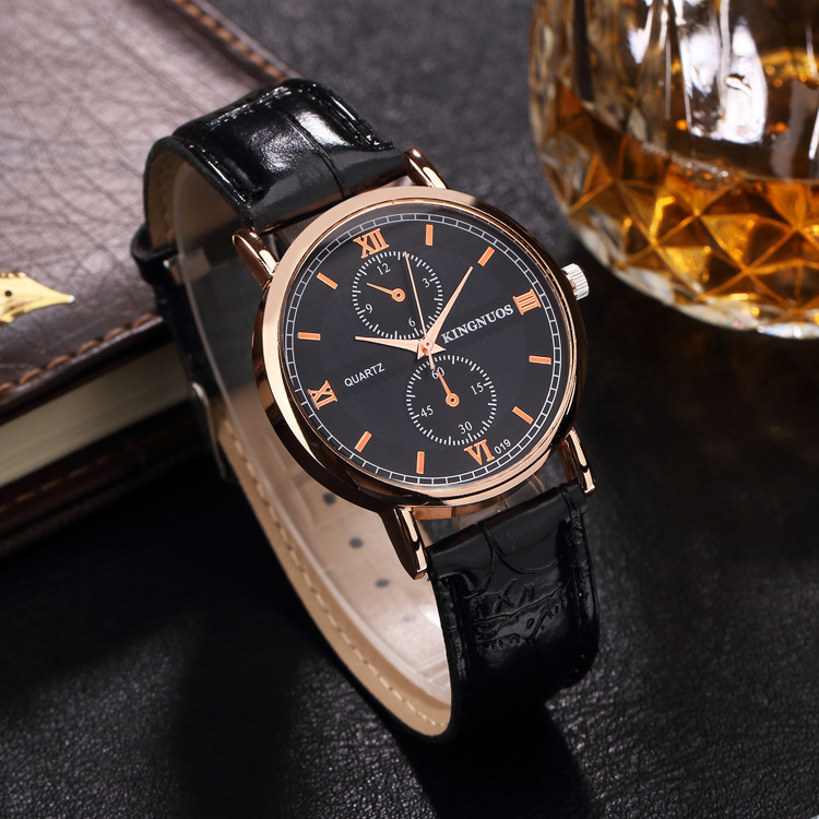 Kingnuos Famous Brand Luxury Watches Men Leather Strap Quartz Wrist Watch Men's Fashion Casual Business Sports Dress Watch Clock yazole brand luxury quartz watch men famous male clock leather sports watches business fashion casual dress wrist watch cheap