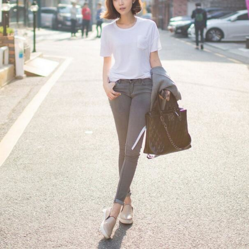 The new han edition jeans smoke gray high waist jeans Elastic thin foot pencil pants cultivate