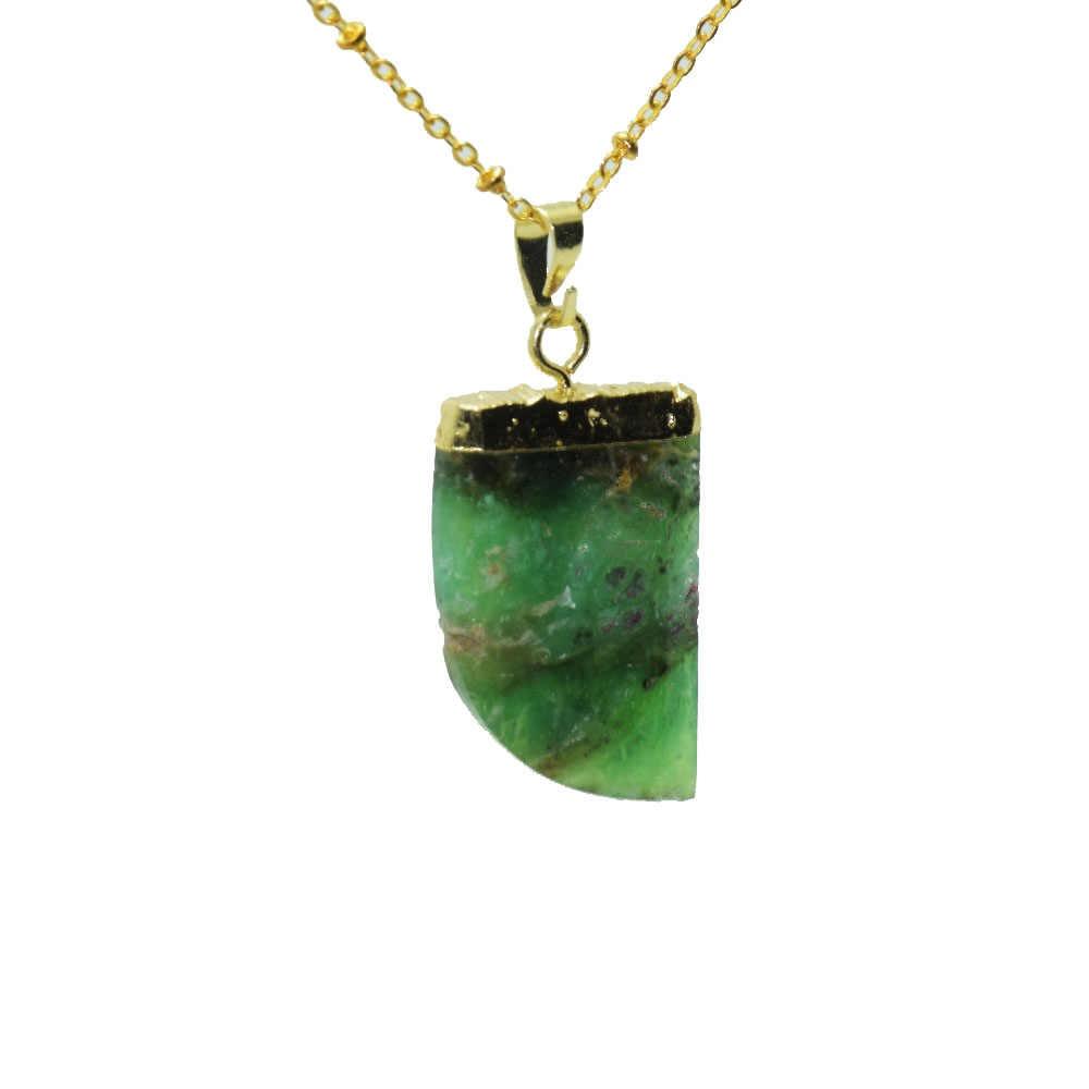 1 ชิ้นคริสตัลคริสตัลออสเตรเลียหินจี้สร้อยคอผู้หญิง Chrysoprase จี้สร้อยคอสำหรับสาวของขวัญ