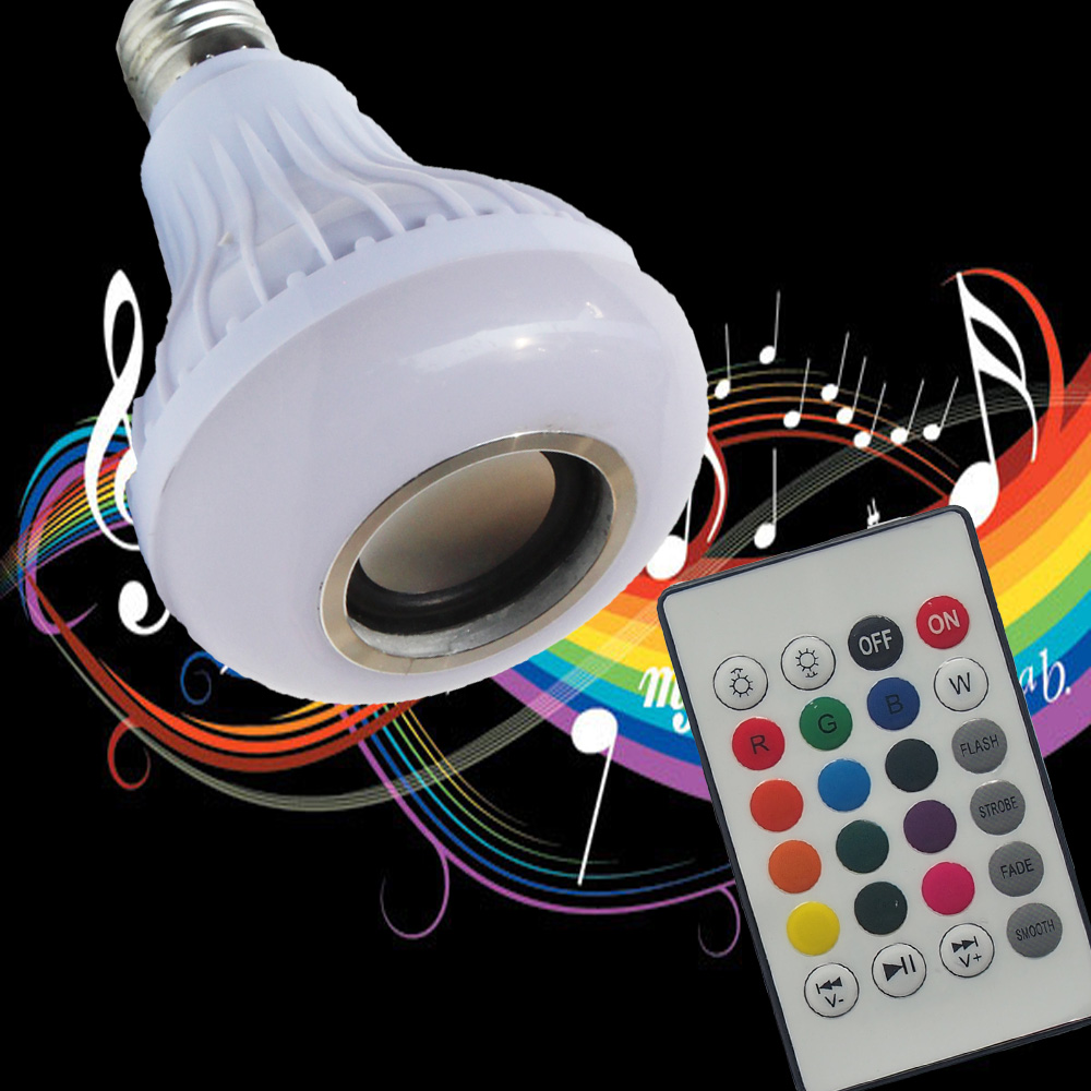 RGB Wireless Bluetooth Speaker Bulb Music Playing Energy Saving RGB Soptlight E27 LED Light Lamp With Remote Control intelligent light led bulb wi fi phone wireless remote control smart bright lamp energy saving colorful light