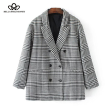 Bella Philosophy 2017 Autumn Fashion Plaid Blazer for Women Casual Outwear Double Breasted OL workwear Blazer female Coat(China)