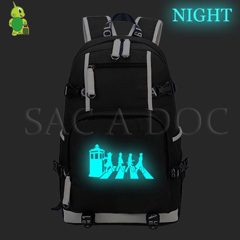 Doctor Who TV Series Laptop Backpack Luminous School Bags for Teenage Girls Boys Casual Rucksack Large Capacity Travel Rucksack