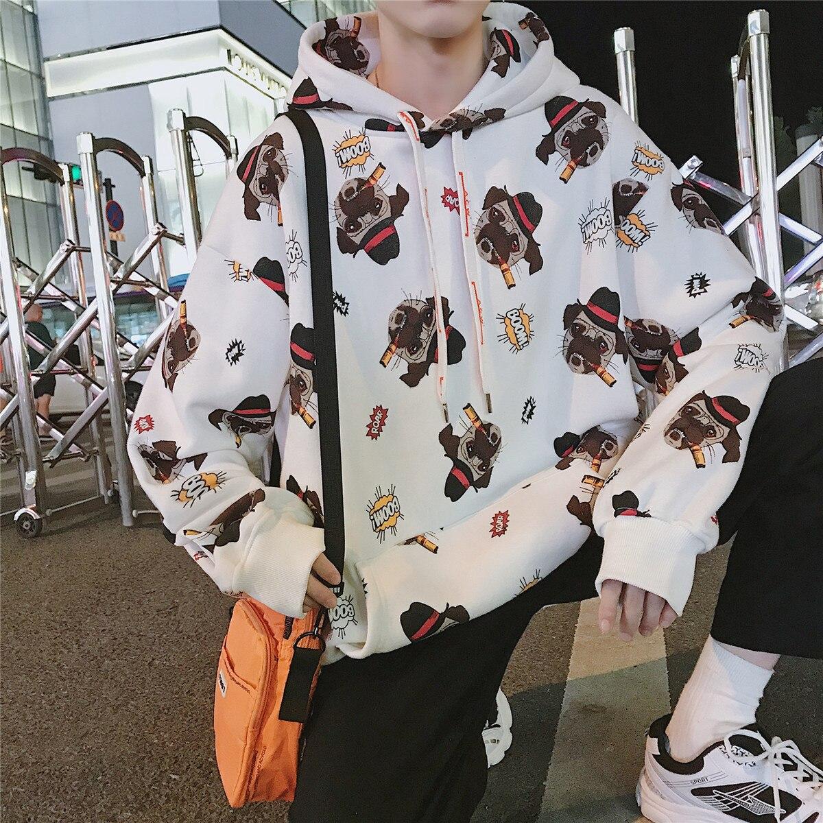 2018 hommes marque de mode vêtements pull dessin animé impression mâle sweat à capuche coton pulls décontractés blanc/gris manteaux M-XL - 4