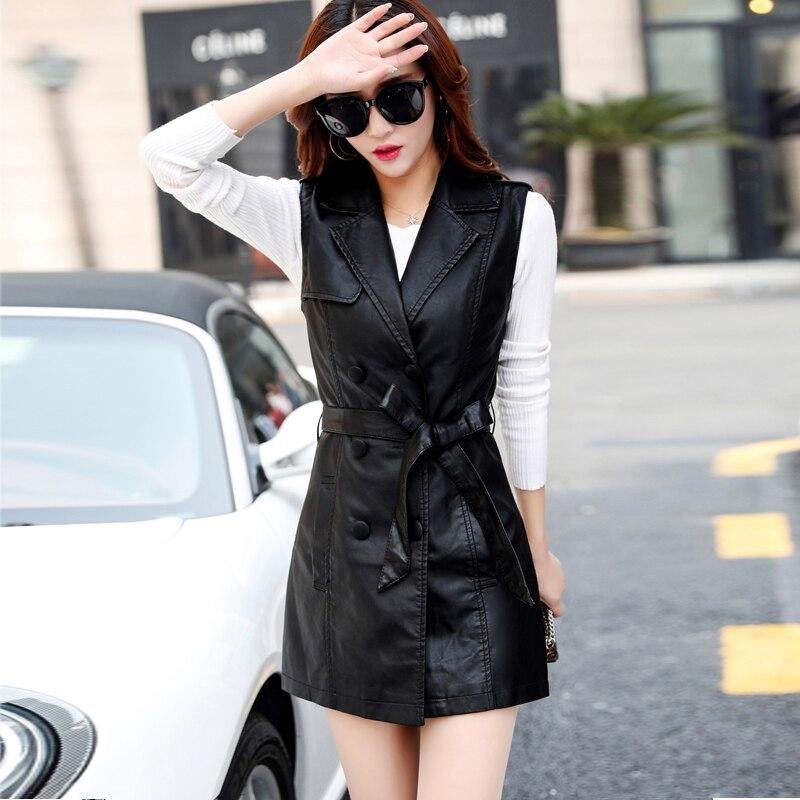Tnlnzhyn 2019 ฤดูใบไม้ร่วงฤดูใบไม้ร่วงผู้หญิงใหม่หนังเสื้อกั๊ก Waistcoat แฟชั่นคู่ PU เสื้อหนังยาว Outerwear Y1143-ใน เสื้อกั๊ก จาก เสื้อผ้าสตรี บน   2
