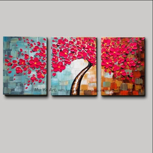 3 Pezzo Della Tela Di Canapa Pittura Pitture Murali Pittura Acrilica Del Fiore Di Ciliegio Dipinto A Mano Su Tela Dipinti Ad Olio Paesaggio Painting Landscape Wall Pictureshand Painted Aliexpress