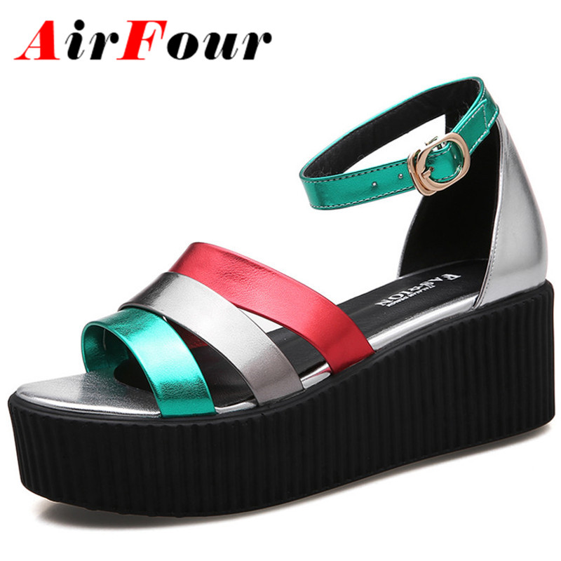 ФОТО Airfour New Women Fashion High Heels Platform Sandals Shoes Women New Green Shoes Summer Wedges Open Toe Casual Sandals Shoes