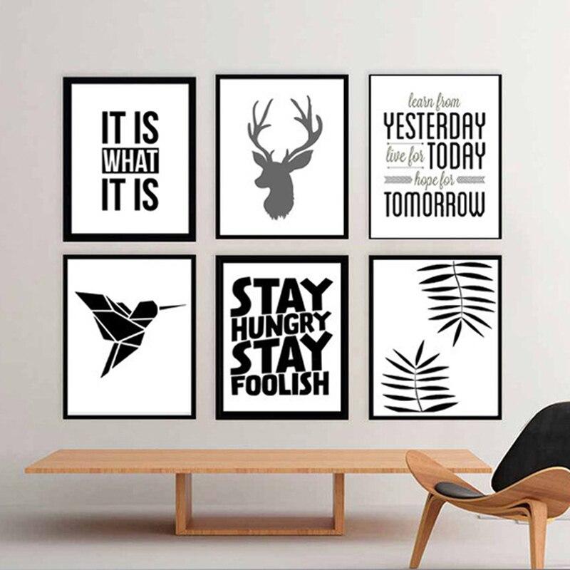 Us 699 Moderne Deer Poster Sprüche Zitate Leinwandbilder Pop Kunst Abstrakte ölgemälde Für Wohnzimmer Wand Wohnkultur Keine Rahmen In Malerei Und
