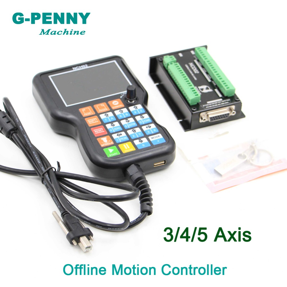 Free shipping! 3Axis/4Axis/5Axis Offline motion controller 125KHz Independent controller for Mach3 controller Stepper motor