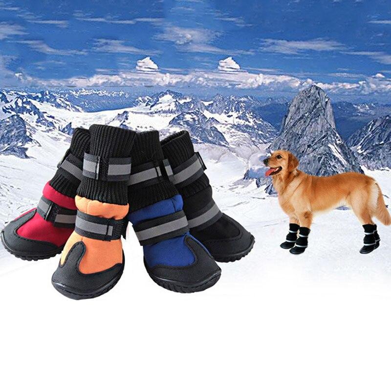Warm Large Big Dog PU leather Sport Shoes Winter Waterproof Pet dog Puppy Martin boots non-slip golden retriever rain shoes