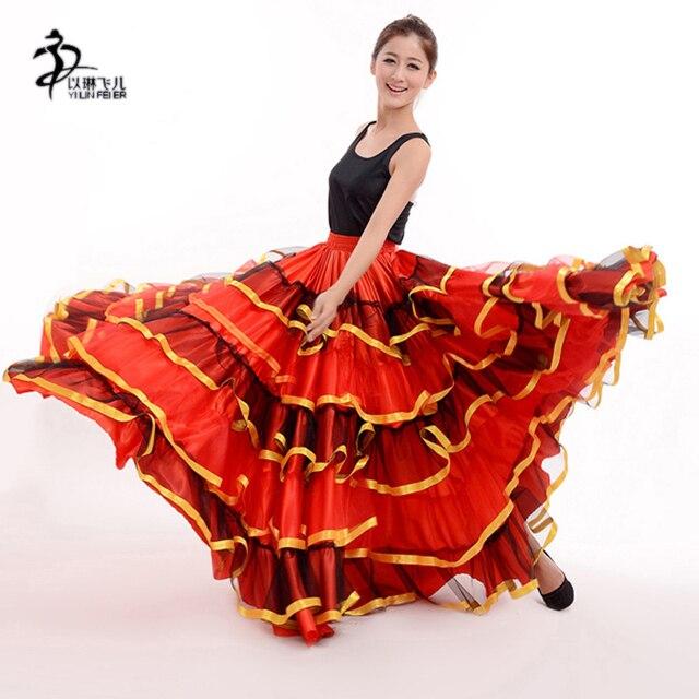 c6bf7deca € 15.4 10% de DESCUENTO|Falda de flamenco para mujer español Flamenco  vestido de fantasía Falda de baile señorita Rumba Salsa disfraz/Vestido ...