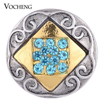 Vocheng Snap Charms 2 Colors Square Inlaid Crystal 18mm Metal Button Vn-1090 image