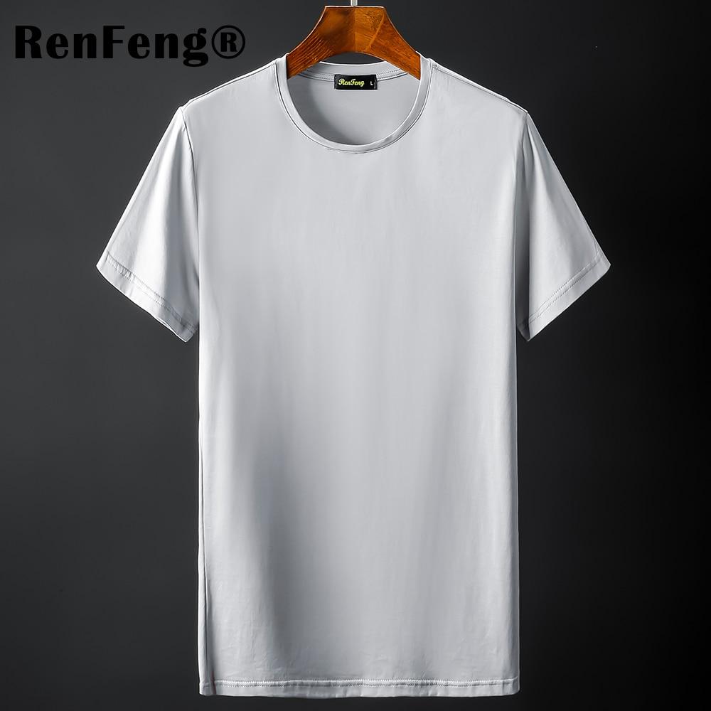 New Blank black Mercerized Cotton Short Sleeve Men's T-Shirt Underwear Round Collar Ice Silk Cool T-Shirt Slim Blusa Tops Summer (9)