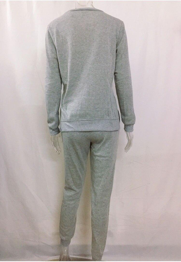 Women Tracksuit Long Sleeve Slit Solid Sweatshirts Casual Suit Women Clothing 2 Piece Set Tops Pants Sporting Suit Female 6