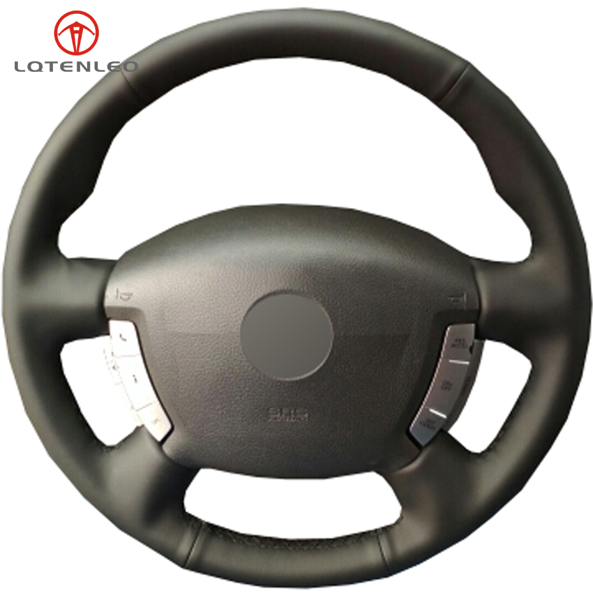 LQTENLEO Black Genuine Leather Car Steering Wheel Cover For Nissan Primera Paladin Almera N16 Pathfinder X