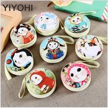 YIYOHI Tinplate Women Cute Cartoon Cat Mini Bag Coin Purse kids Girls Wallet Earphone Box Bag Wedding Gift Christmas Gift