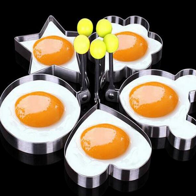 HOT SALE 5pcs/set 5 Shapes Stainless steel Cute Shaped Fried Egg Mold Pancake Rings Mold Kitchen Tools kitchen accerssories