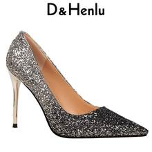 fd8765fe53dd D Henlu Brand Women Shoes Sexy Metal Heel Sequined Women s Gradient Heels  9.5cm Super High Pointed Toe Pumps Gold Wedding Shoes