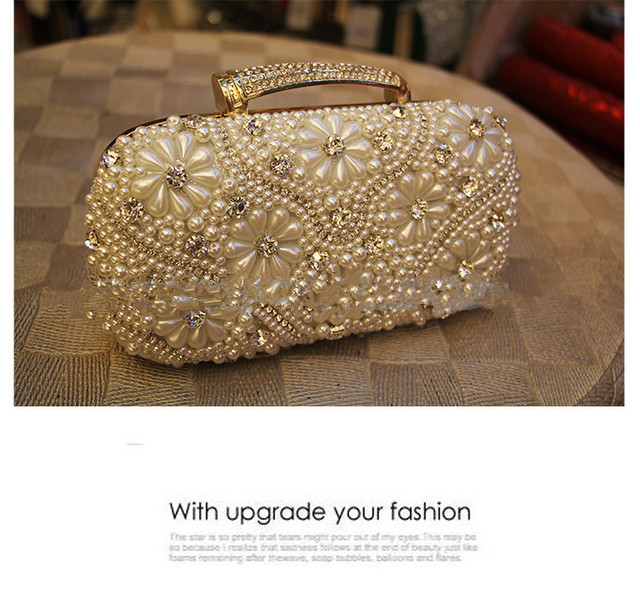 2017 Women Evening Clutch Bag Gorgeous Pearl Crystals Beading Purses And Handbags Lb 0007 Bridal