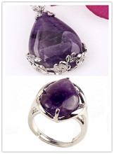 Kraft-beads Popular Silver Plated Natural Purple Amethysts Pendant Water Drop Ring For Anniversary Jewelry Sets