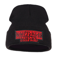 new Men Women Teenagers Warm Beanine Winter Hat Dustin Stranger Things Black Knit Beanie Cap For Youth