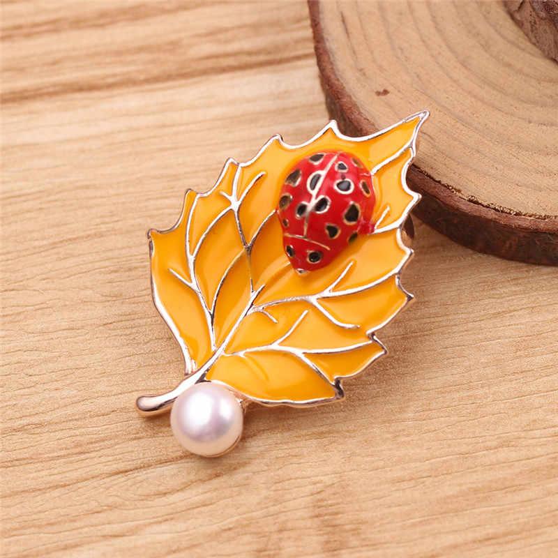 2019 Fashion Perhiasan Lucu Enamel Logam Mutiara Air Tawar Daun Ladybug Bros Bros Vintage Serangga Bros untuk Wanita Hadiah