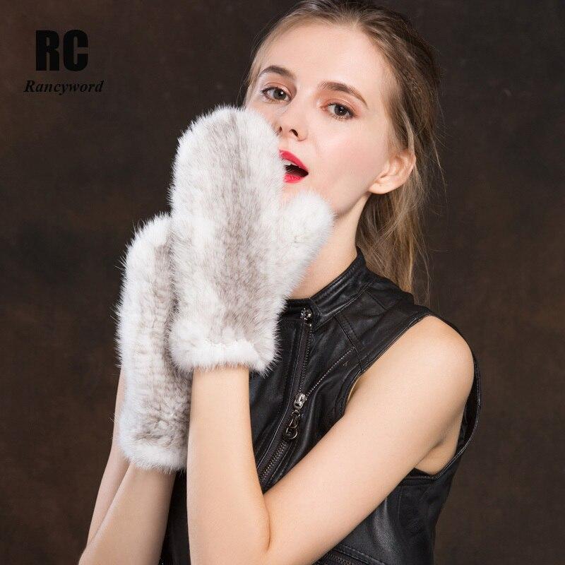 [Rancyword] gants d'hiver femmes vrais gants de fourrure de vison avec des gants de corde mitaines femme tricoté Nutural gants de fourrure chaud nouveau RC1331