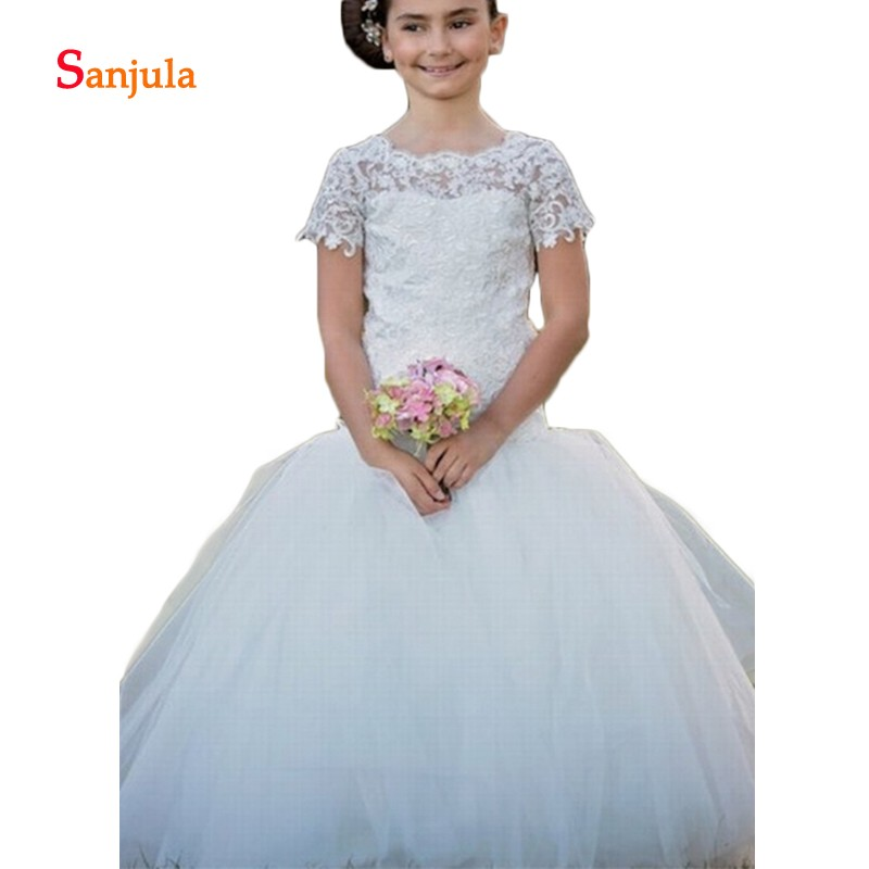 Sheath Top Puffy Skirt Elegant   Flower     Girls     Dresses   Short Sleeve Lace Child Wedding Party Gowns vestido daminha infantil D914