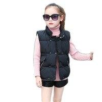 Children's Vest for Girls Spring Autumn Winter Kids Girl Warm Cotton Waistcoats Girls Stand Collar Sleeveless Jacket Coat A26
