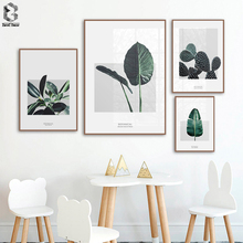 Nordic Tropical Leaf Cactus Green Modern Art Canvas Painting Posters And Prints Wall Pictures For Living Room Home Decor
