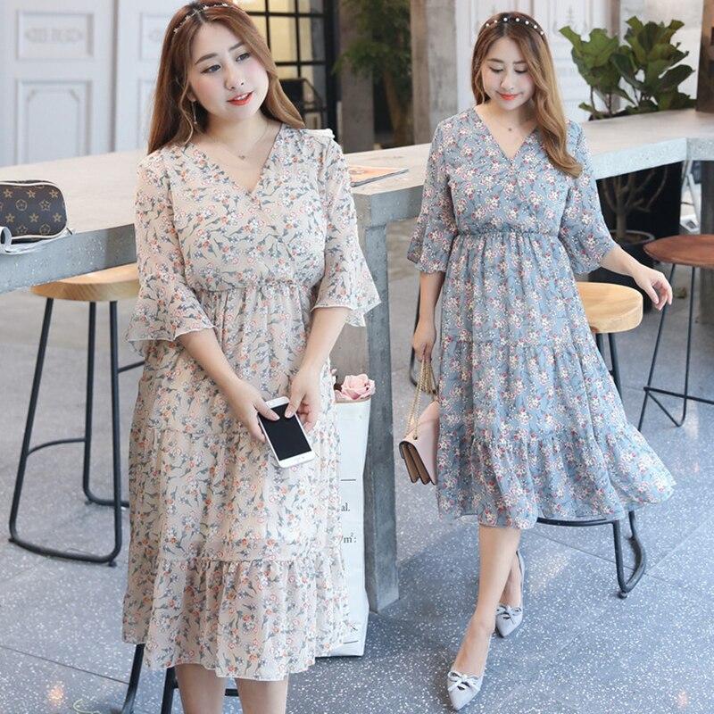 2019 New Fashion Women Dress Leisure Long Section Body Thin Over Knee Korean Version Flower Short Sleeve summer Ladies Dresses in Dresses from Women 39 s Clothing