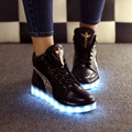 High top led shoes men casual shoe solid 2016 fashion flat with large size 35-46 black and white superstar shoes women