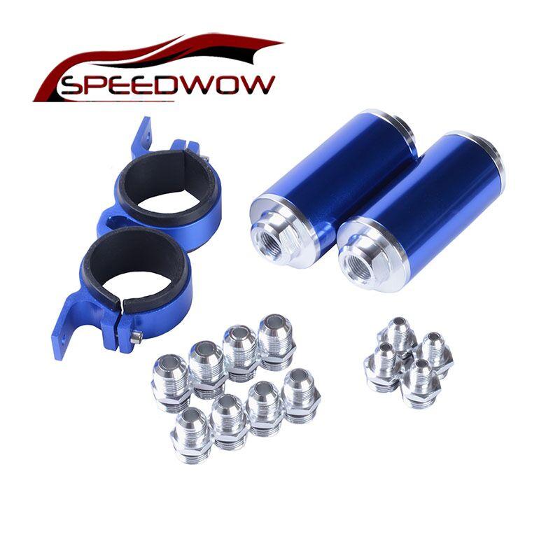Kit de filtre à essence en ligne de carburant en aluminium SPEEDWOW filtre à carburant à haut débit adaptateur de raccords AN10/AN8/AN6 avec support de pompe à carburant