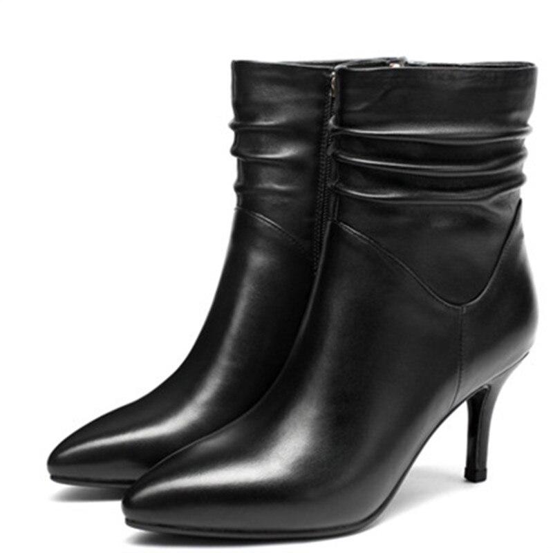 Invierno Moonmeek Del Fino Negro Caliente Tobillo 2018 Mujeres Punta Tacón Venta Cuero Genuino Señoras La Botas Populares En Otoño De Boots YBtwxa41Rq