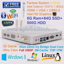 8GB Ram 64GB SSD 500GB HDD Compact Computer Mini Fanless PC Intel Celeron 1037U HTPC Windows XBMC Kodi OpenELEC Full HD 1080P