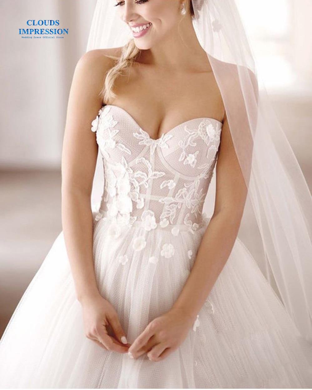 CLOUDS IMPRESSION Sexy Romantic 2019 Strapless Beach Wedding Dress Vestige De Noiva Bridal Dress Gown Tulle