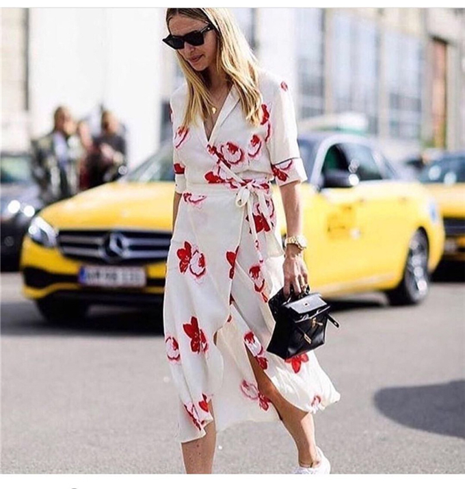 Vintage HARLEY CREPE Wrap Dress Midi dress Floral Vanilla V neck Short sleeved Midi Dress-in Dresses from Women's Clothing on AliExpress - 11.11_Double 11_Singles' Day 1