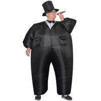 Gangster Inflatable Costume Halloween Costume For Men Inflatable Suit Black Suits Inflatable Gangster Carnival Costume