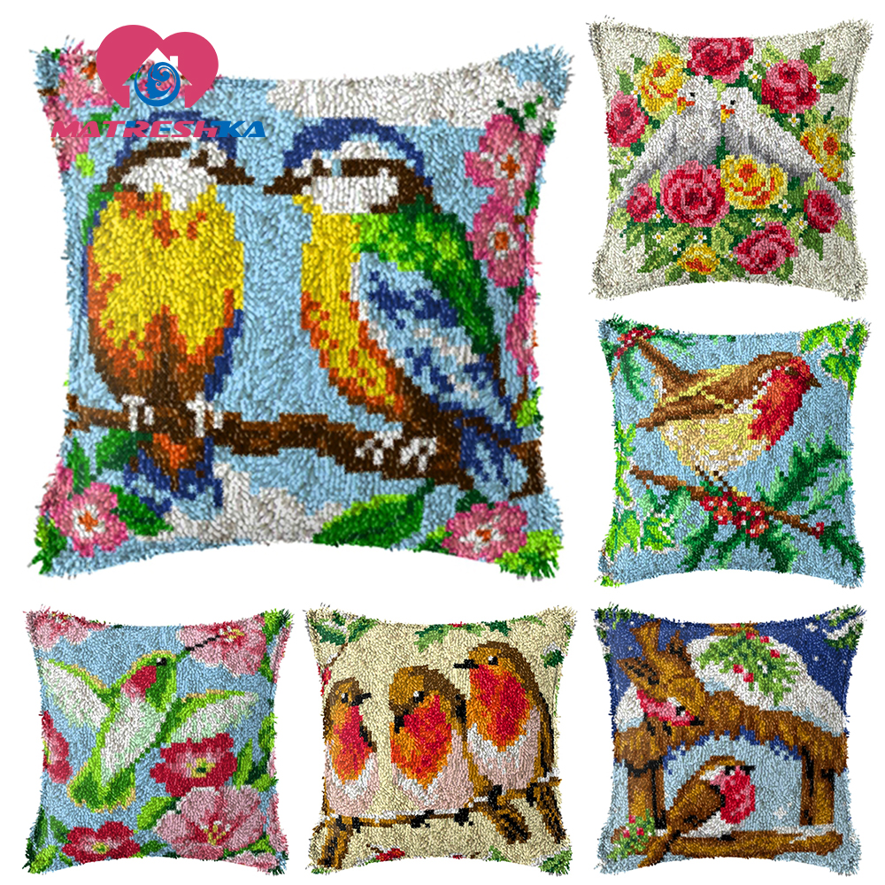 pillow embroidery birds picture carpet embroidery sale sets pillow cross stitch do it yourself latch hook rugs Foamiran crafts(China)