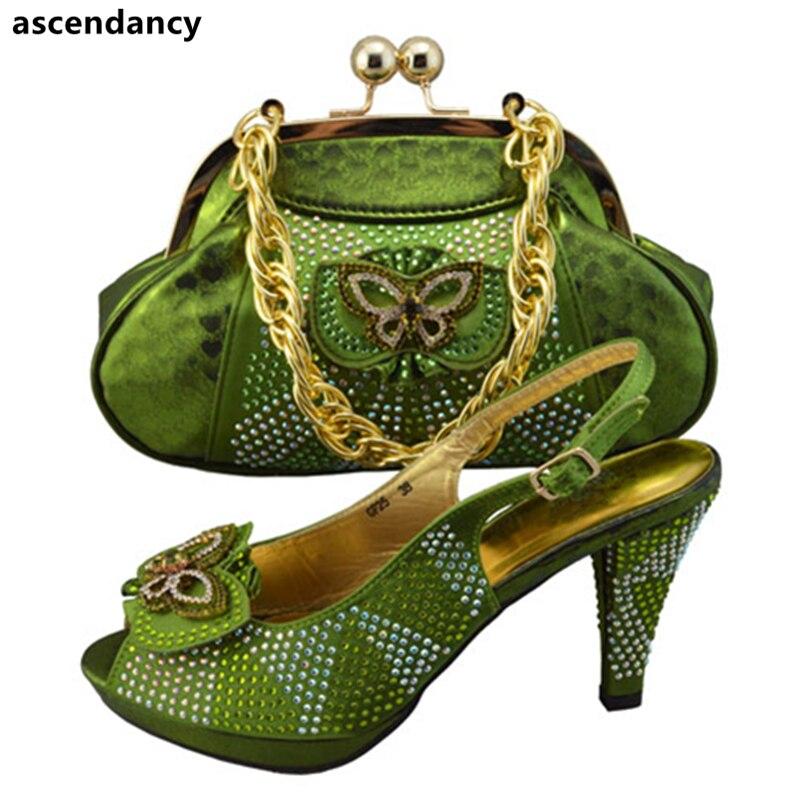 Conception Partie Chaussure Le Pour Femmes Assorti pourpre bleu Royal Italiennes Dernière Africain jaune Assortis De Nigeria Chaussures Vert Sac Mariage Avec Les Sacs Et SZxdzq
