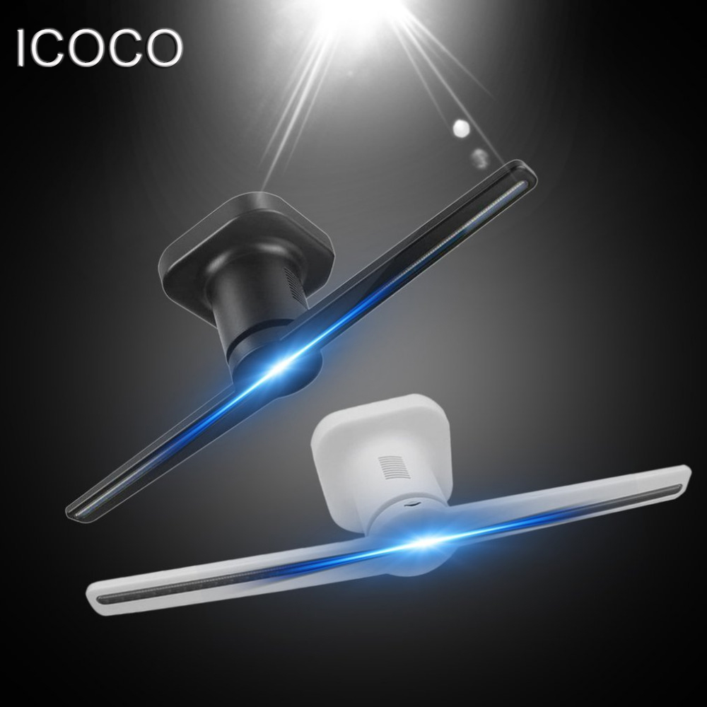 ICOCO LED Holographique Projecteur Portable Hologramme Lecteur 3D Holographique Dispaly Ventilateur Unique Hologramme Projecteur Noir/Blanc