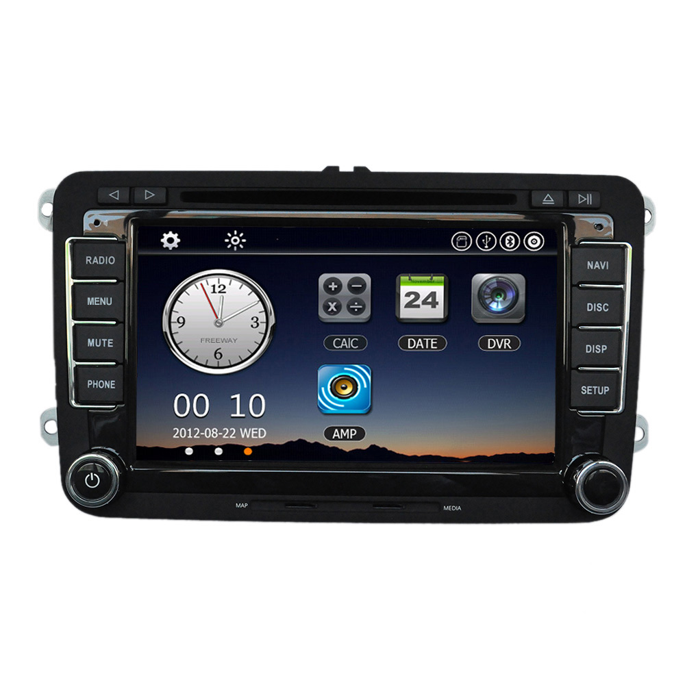 Car 7 1080P DVD Player GPS Navigation BT Car Radio 2 Din in Dash Stereo Head Unit for VW Volkswagen +Free Map +Free Card