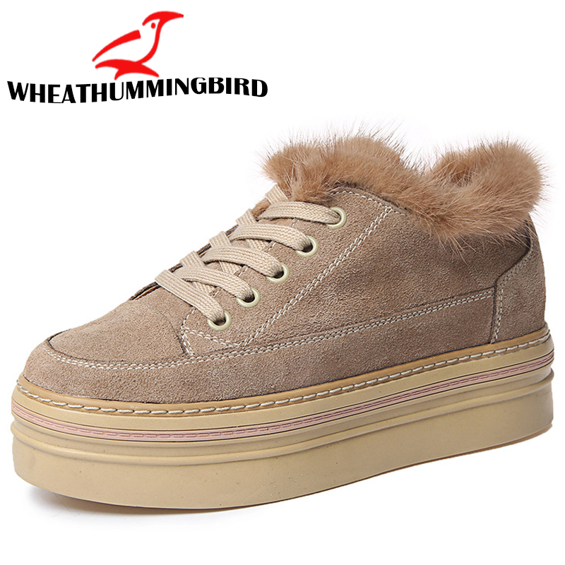 woman wedges height increasing casual sneakers shoes fashion Female lace up Flat Platform shoes Winter With Fur Warm Boots ME-12 недорго, оригинальная цена