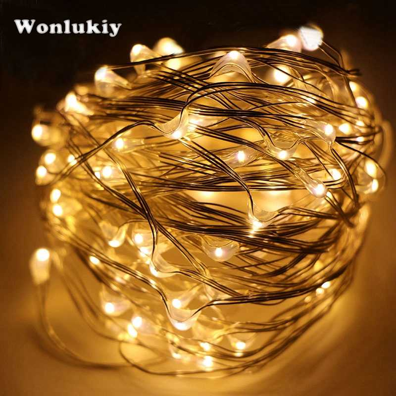 Wonlukiy DC12V 10M/20M/30M/50M Silver Copper Wire Fairy LED String Lights For Indoor Outdoor Waterproof Christmas Wedding Decor